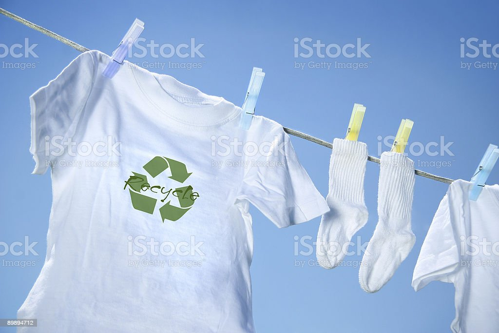 Clothes drying on clothesline stock photo