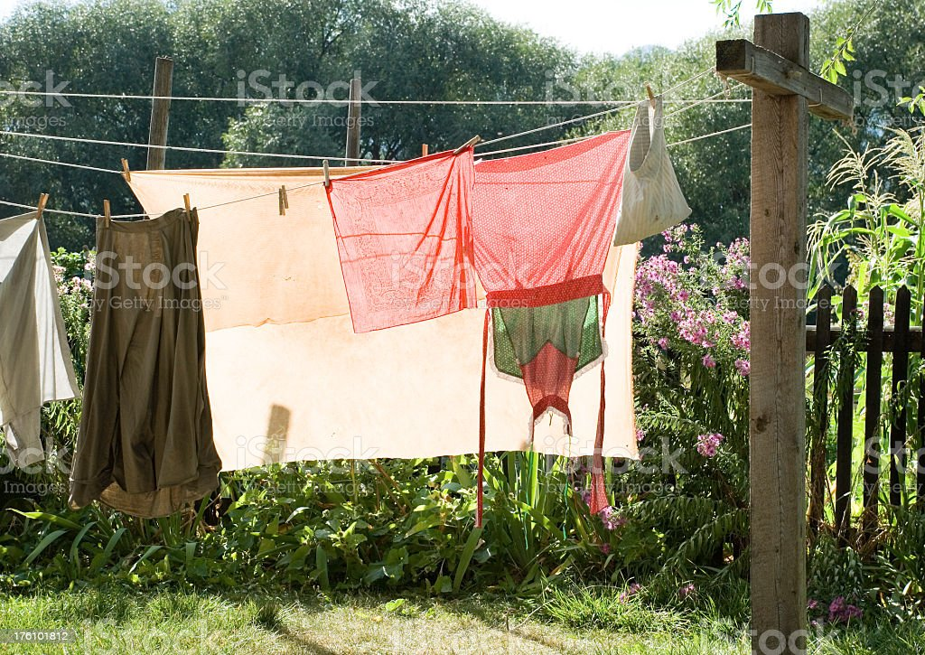 Clothes drying stock photo