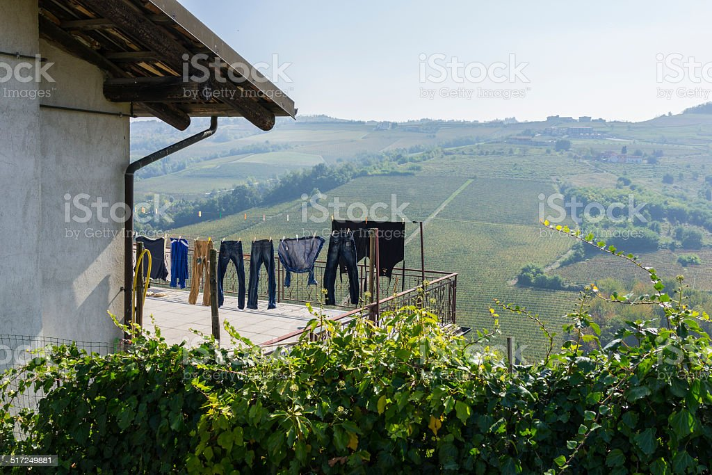 Clothes hanging facing vineyards in Langhe (Unesco World Heritage site) stock photo