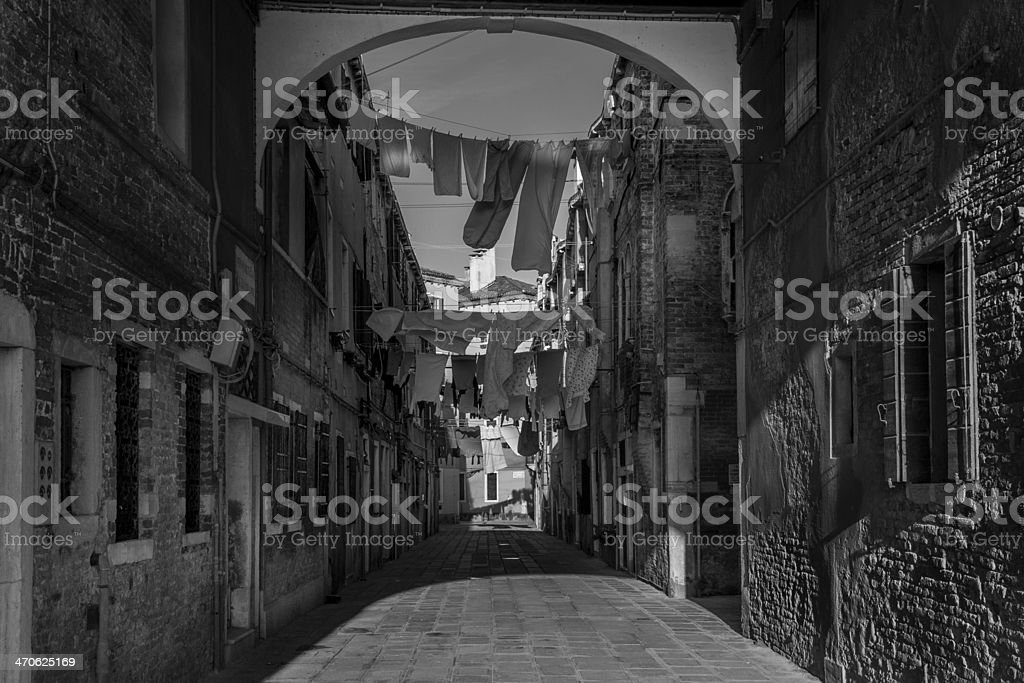 Clothes Hanging in Venice royalty-free stock photo