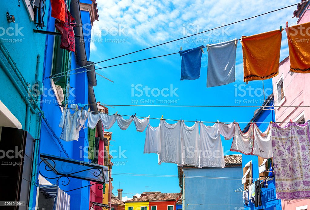 Clothes hanging out to dry, Burano Island, Venice stock photo