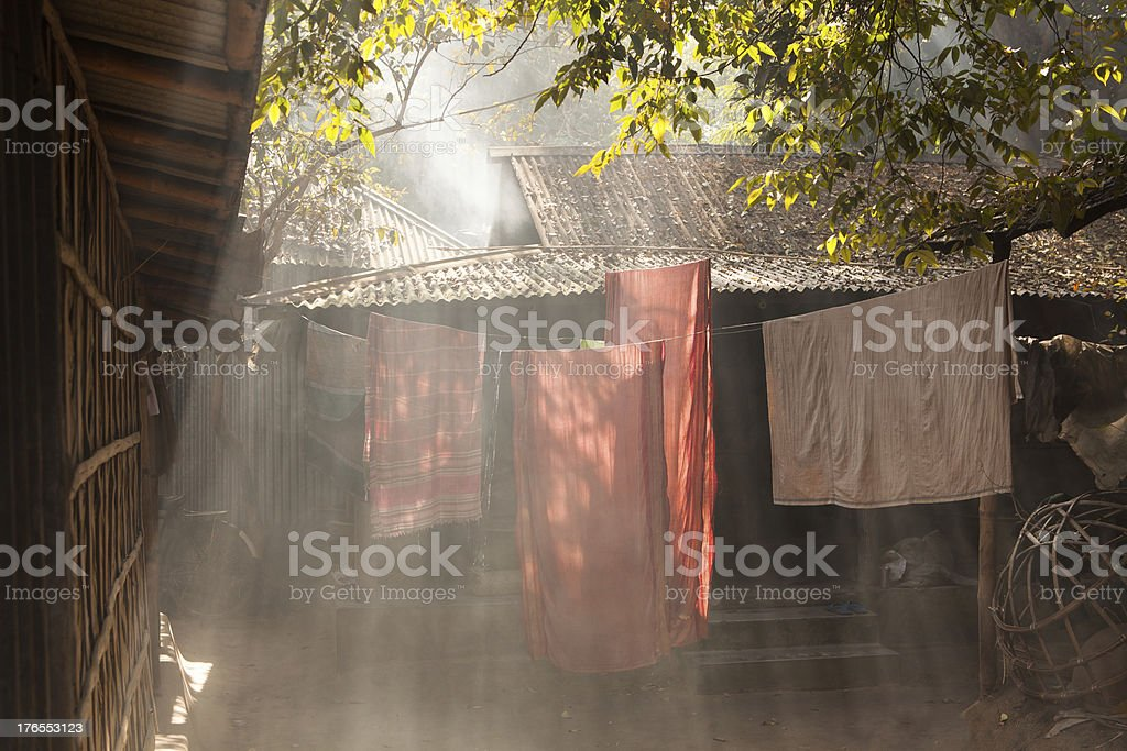 Clothes hanging to dry in the sun stock photo