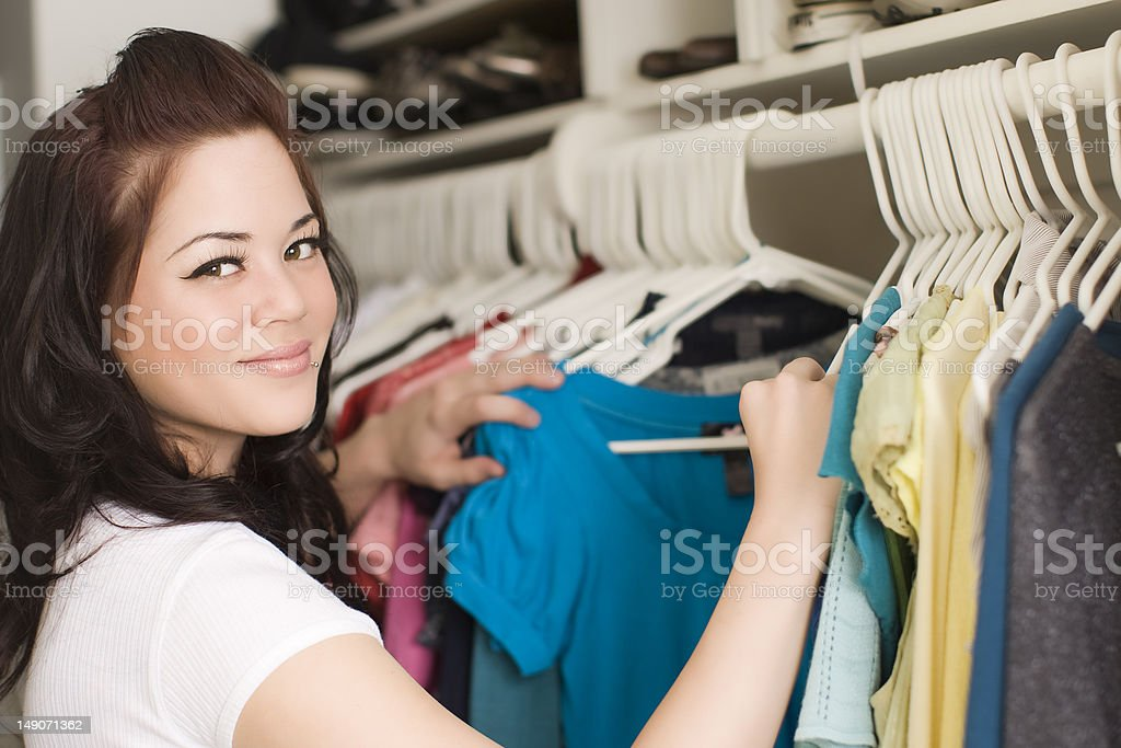 Clothes in closet royalty-free stock photo