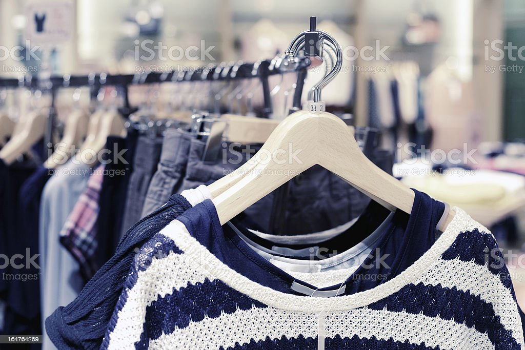 Clothes in fashion store royalty-free stock photo