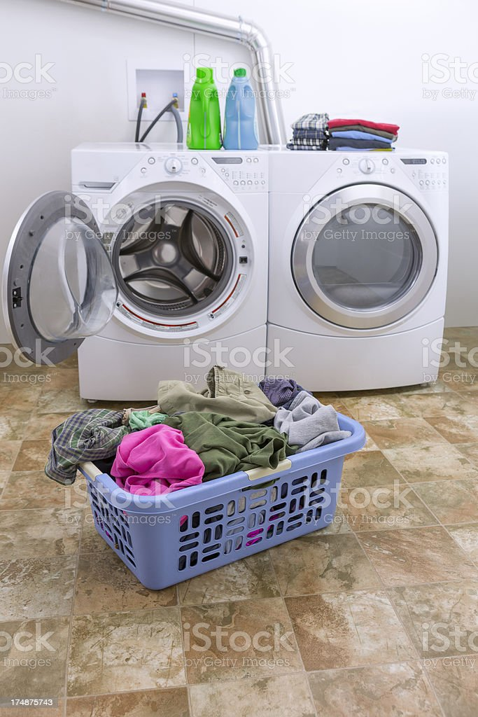 Clothes in Laundry Basket With Washer and Dryer stock photo