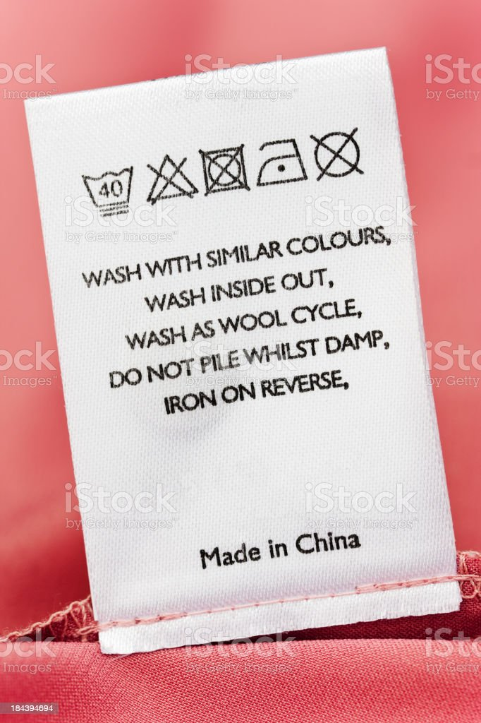 Clothes label of item made in China stock photo