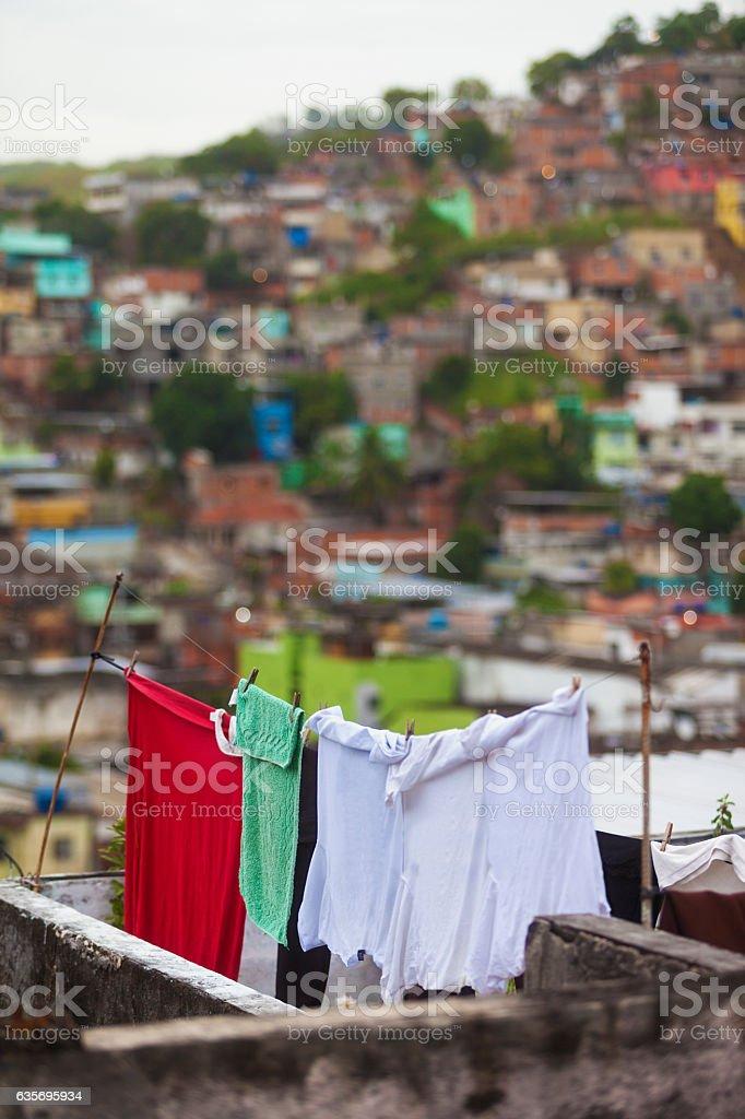 Clothes line in a favela in Rio de Janeiro stock photo