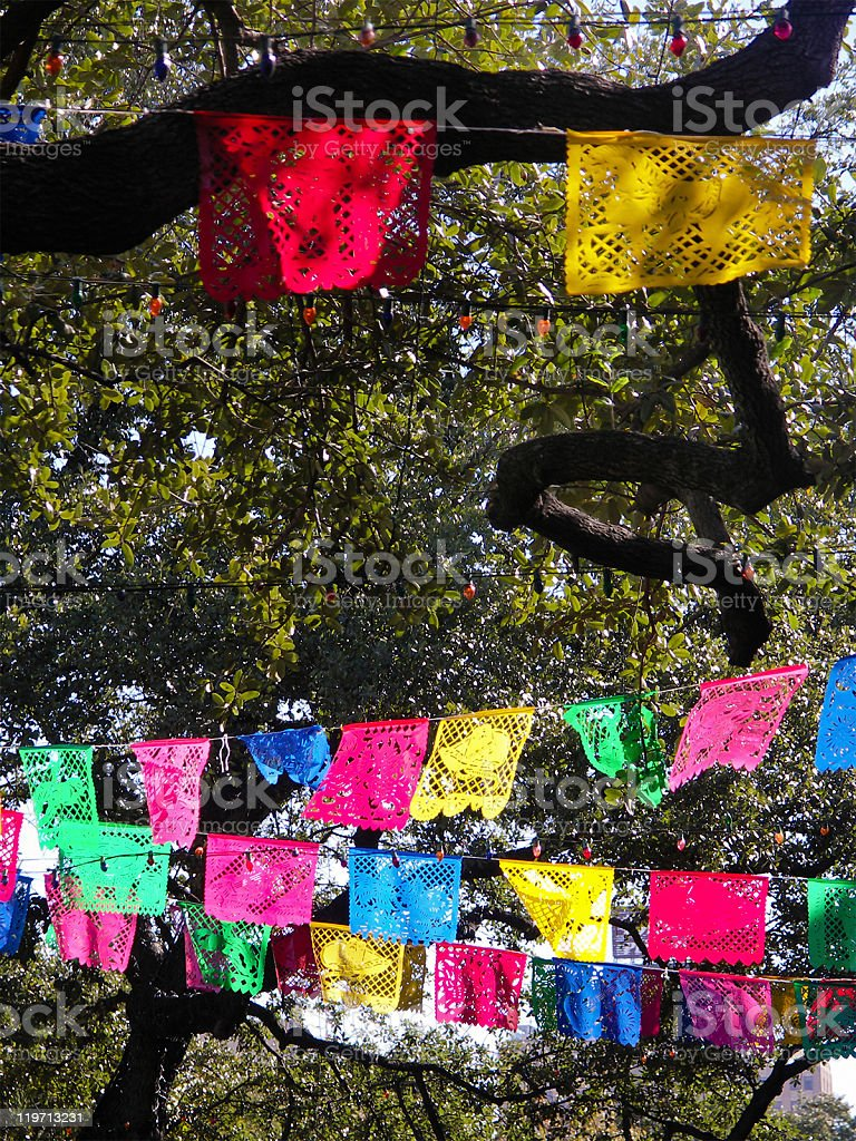 Clothes lines with artistic patterns at Papel Picado stock photo