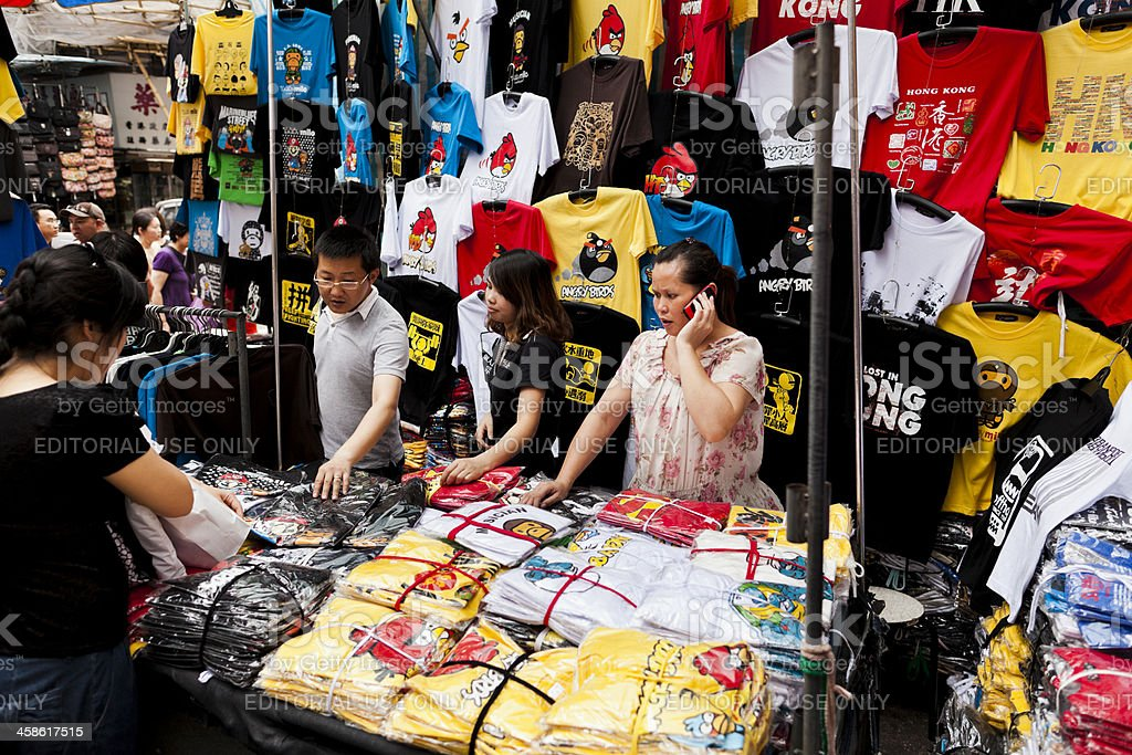 Clothes market stall in Hong Kong royalty-free stock photo