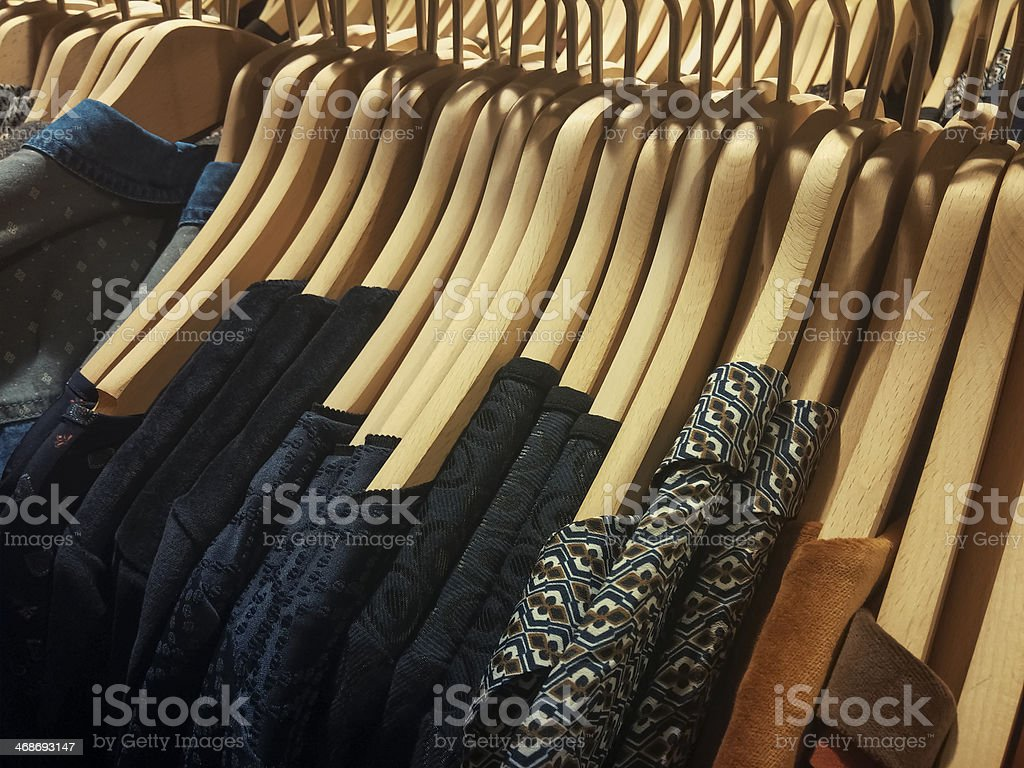 clothes on hanger stock photo