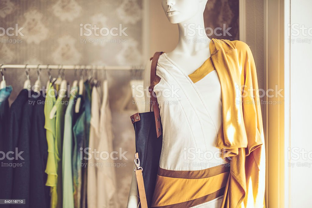 Clothes on hangers stock photo