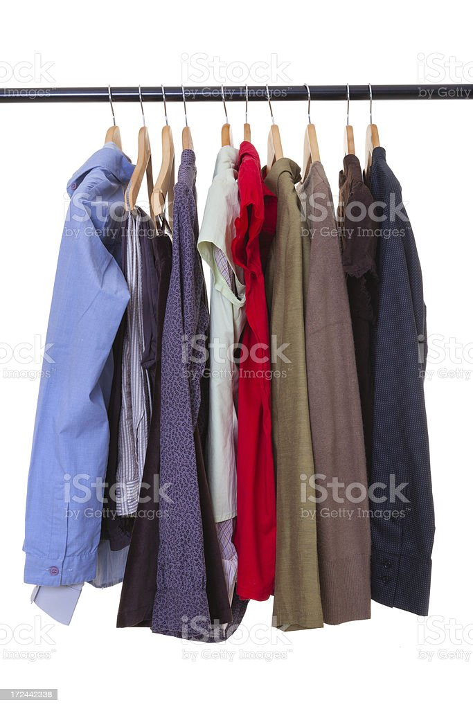 Clothes on rack in store royalty-free stock photo