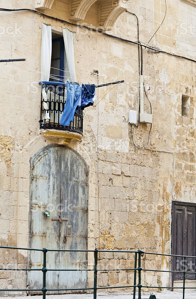 Clothes on the Line in Malta royalty-free stock photo