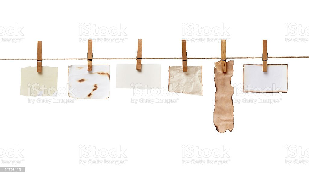 clothes peg and note paper on clothes line rope stock photo