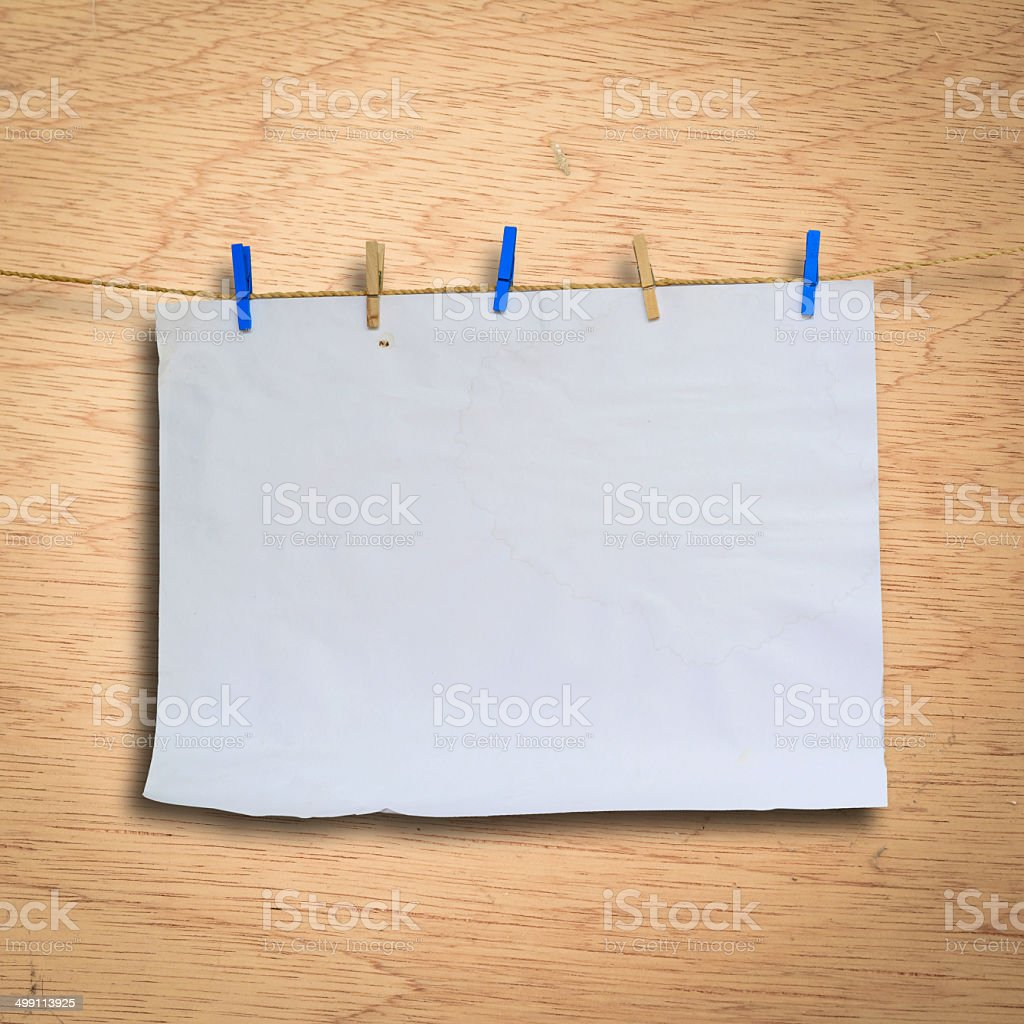 Clothes peg and paper notes with clipping path stock photo