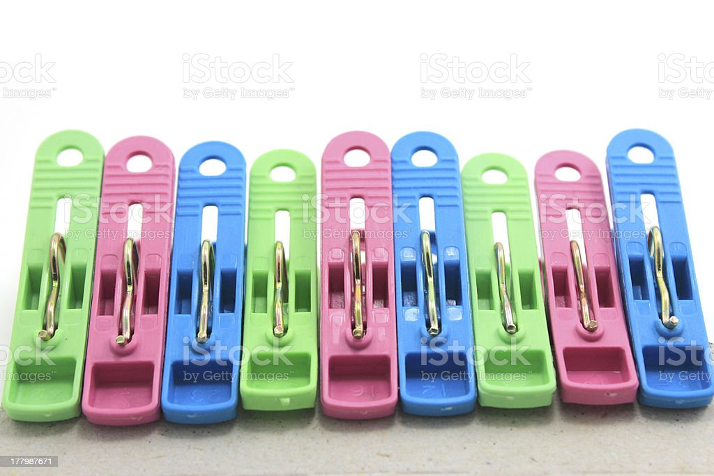 clothes pin colors with Path royalty-free stock photo