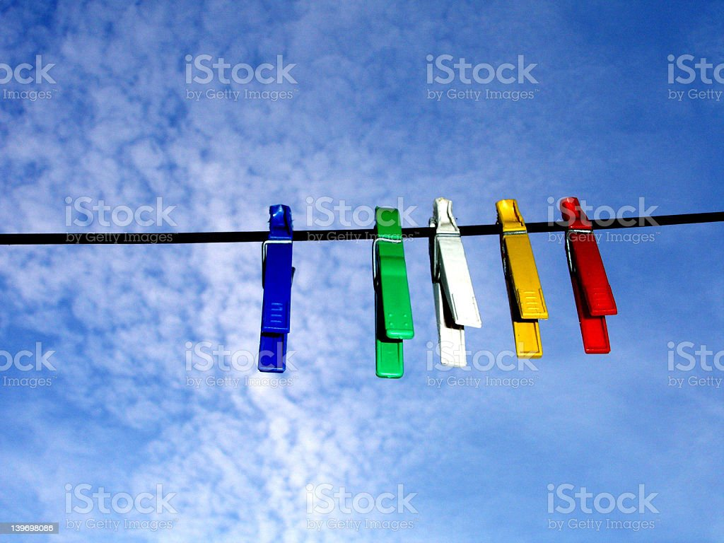 clothes pins on the line stock photo