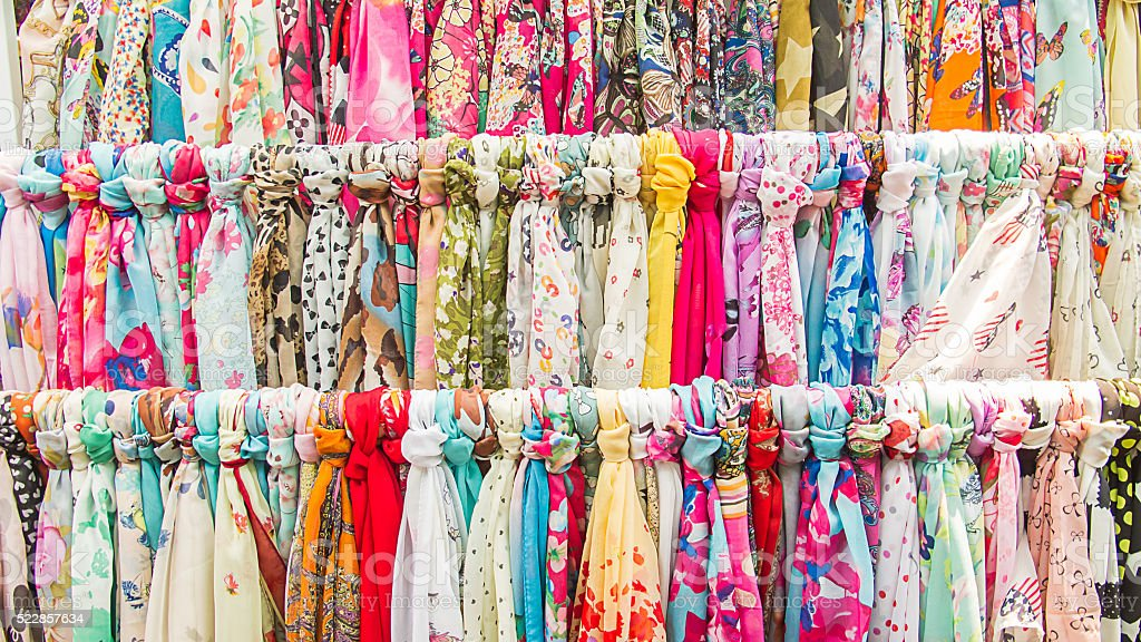 Clothes rack with a selection. stock photo