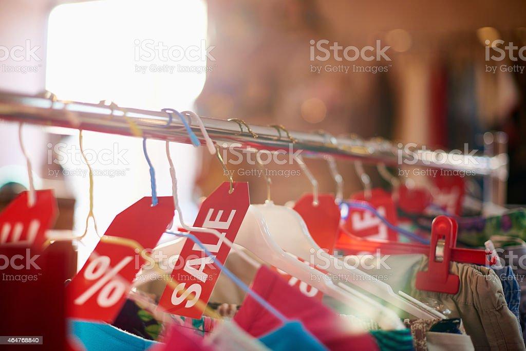 Clothes sale stock photo