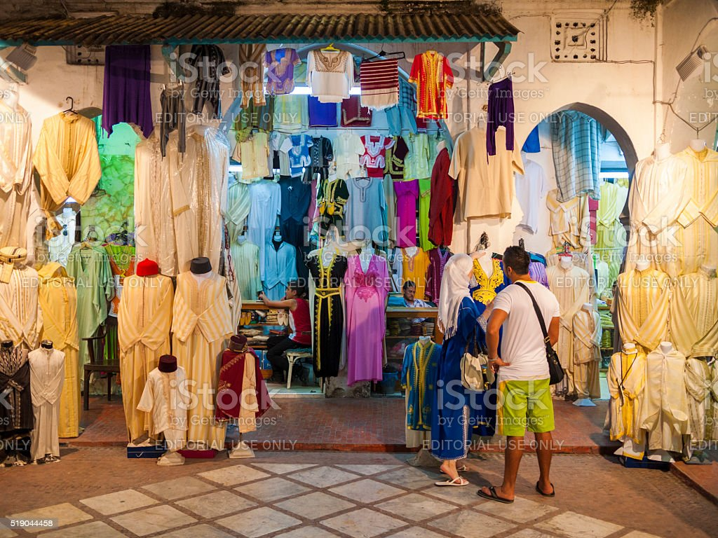 Clothes Shop in Tangiers, Morocco stock photo