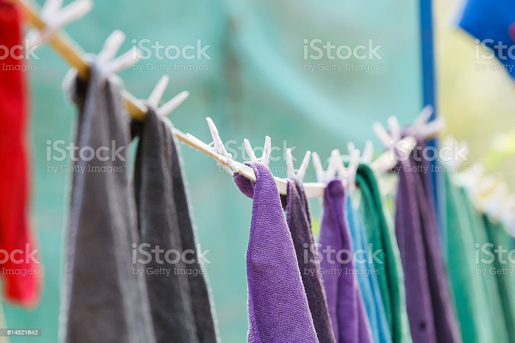 Clothes towel hanging on the clothesline.blurry and soft focus stock photo