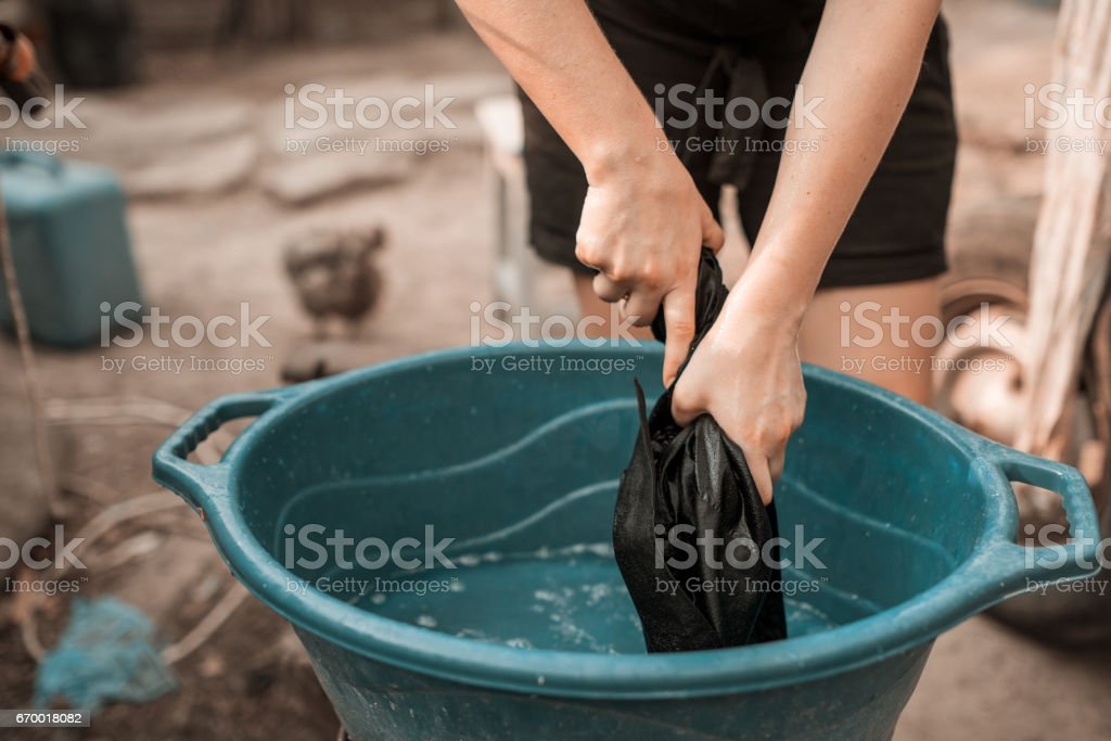 clothes wash in the basin stock photo