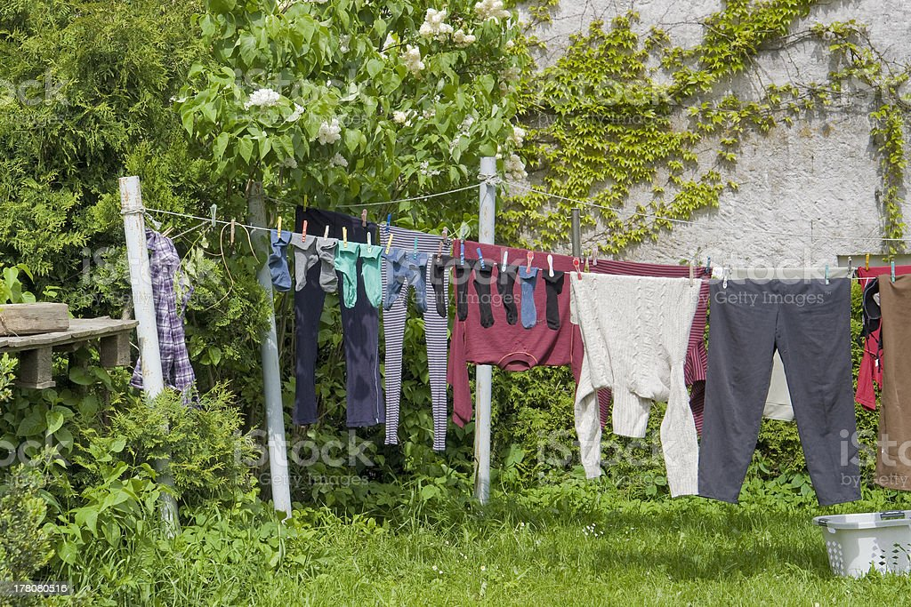 clothesline and clothes stock photo
