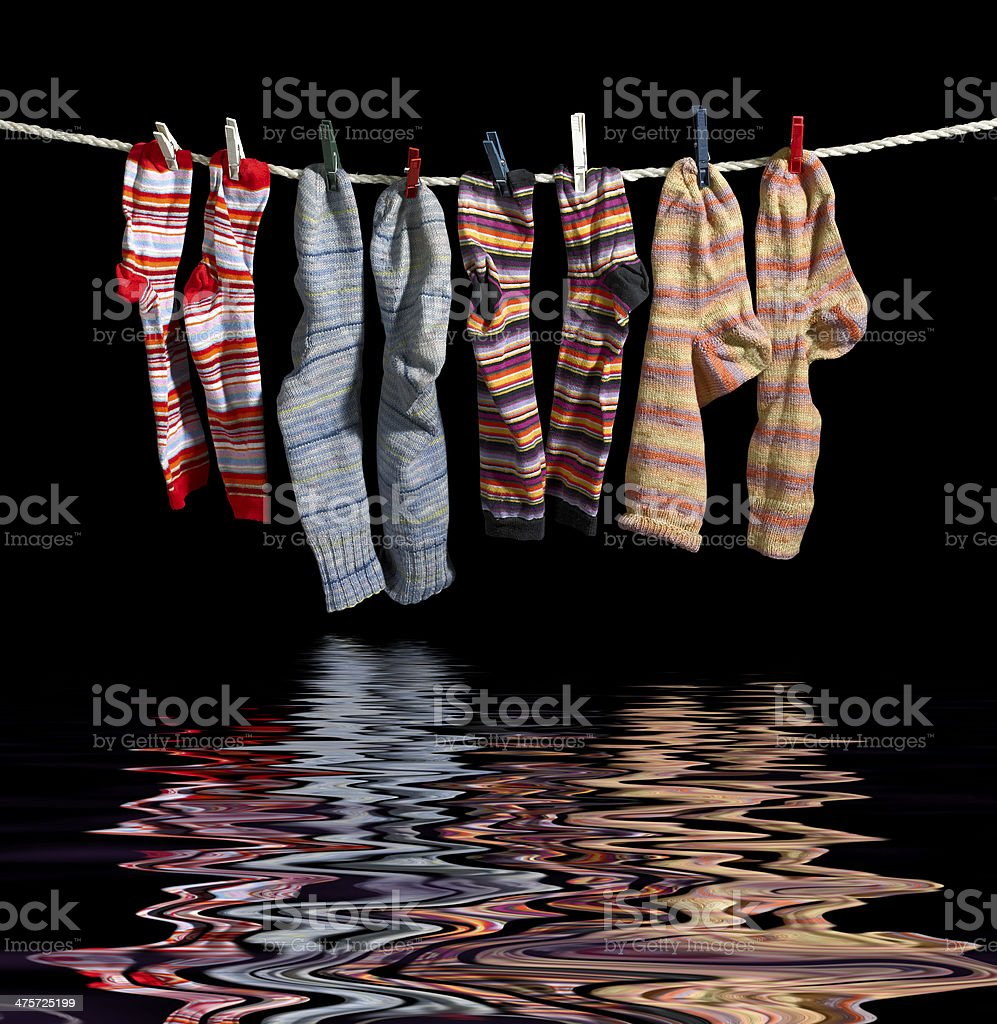 clothesline and sox stock photo
