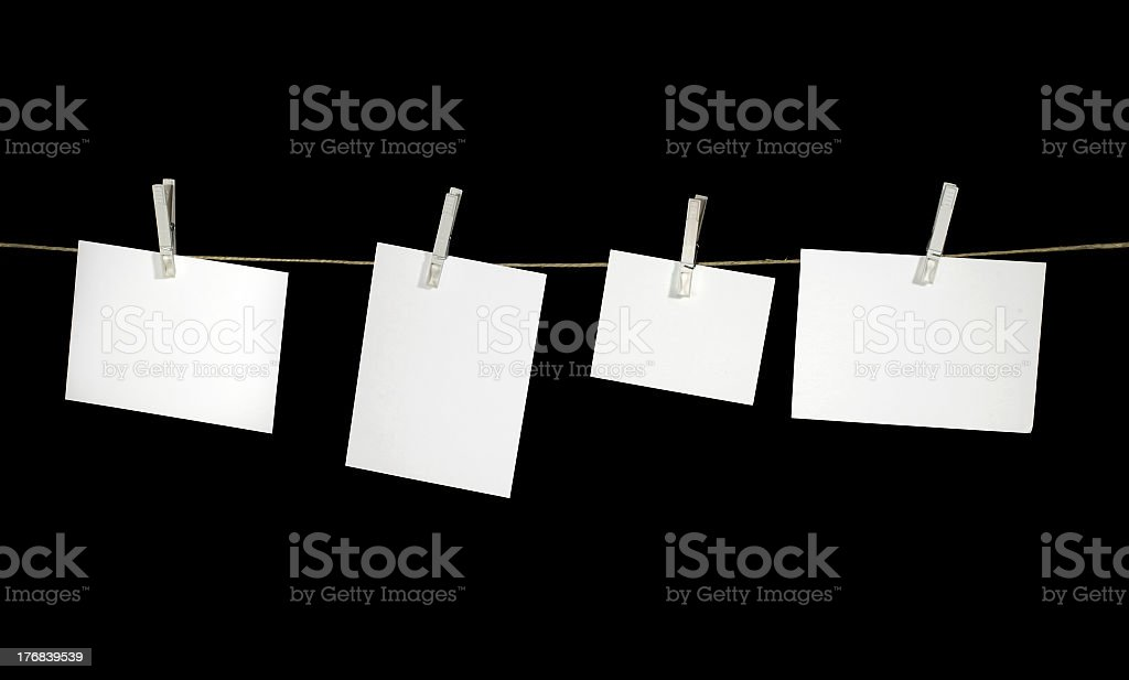 clothesline and white labels royalty-free stock photo