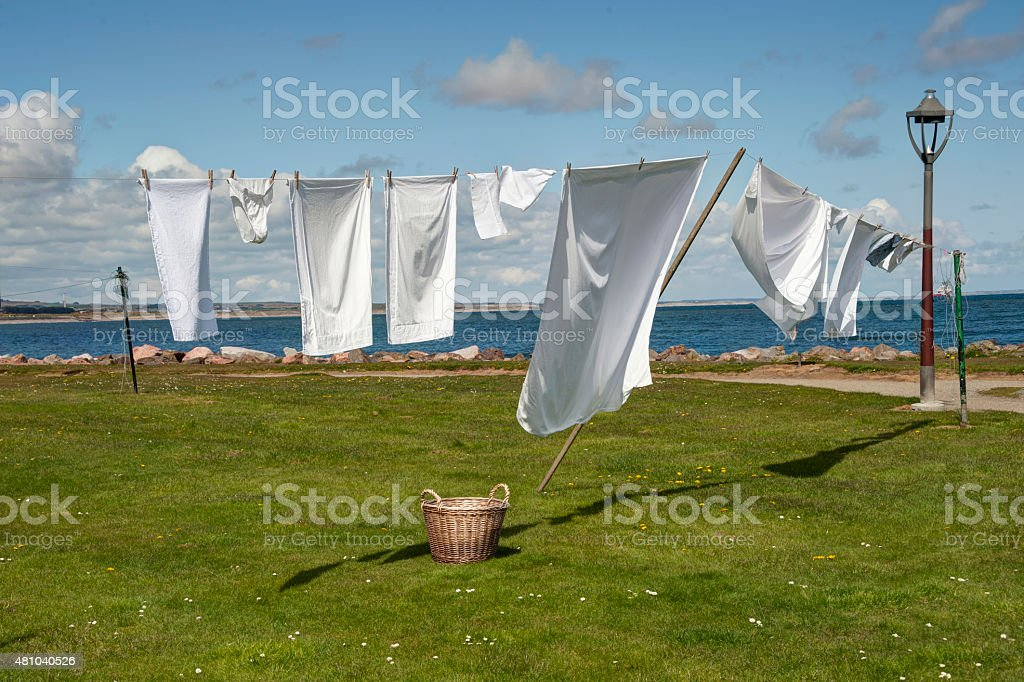 Clothesline by the seaside stock photo