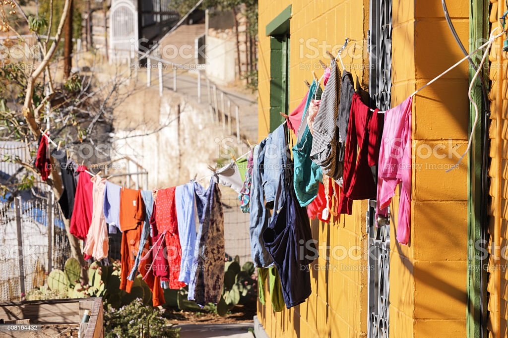 Clothesline Laundry Housework Chores stock photo