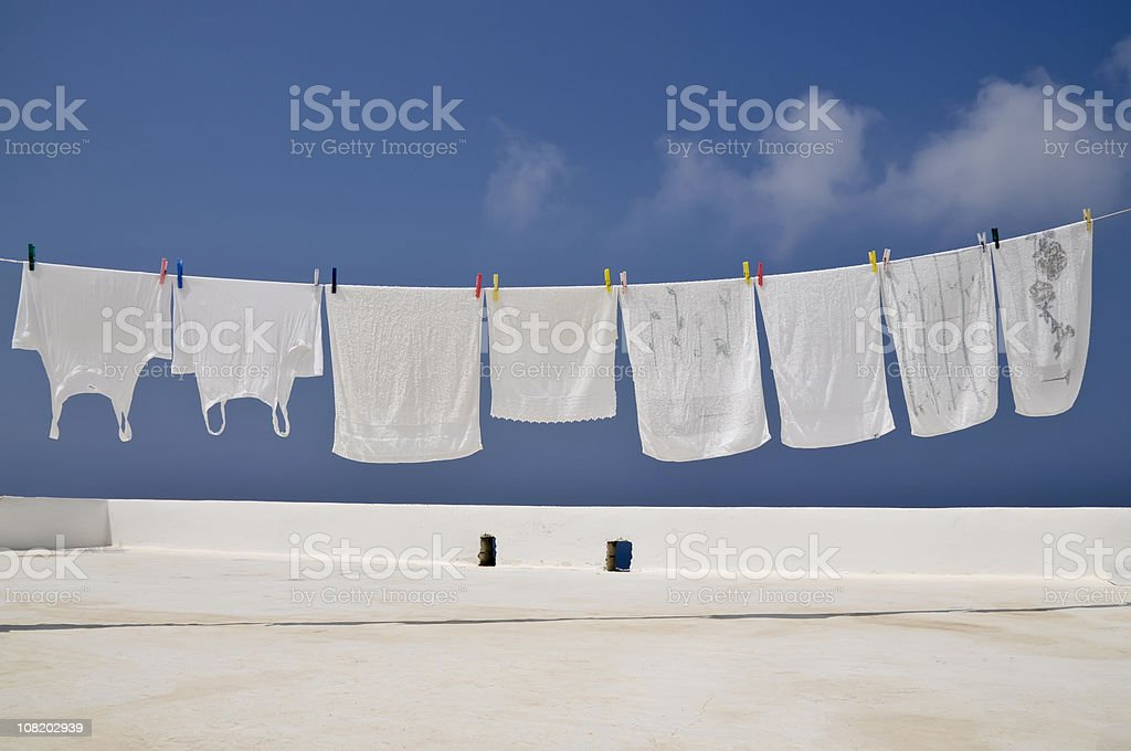 Clothesline of Bright Whites stock photo