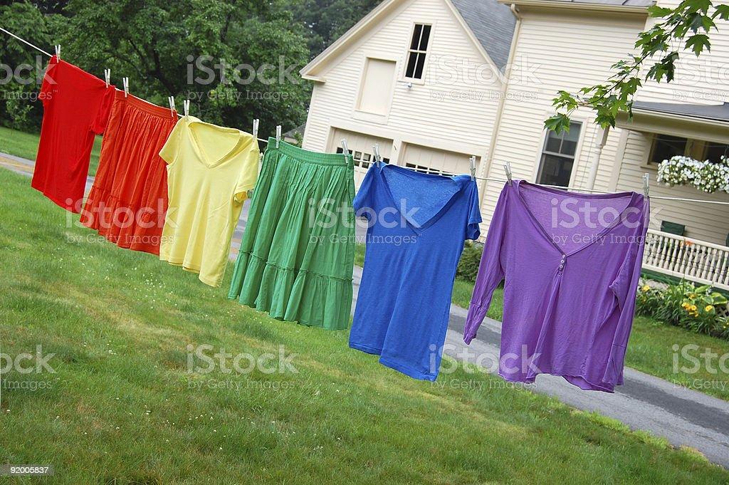 Clothesline rainbow royalty-free stock photo