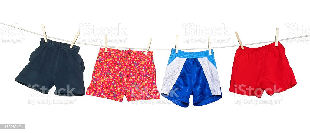 Clothesline with shorts (clipping path) stock photo