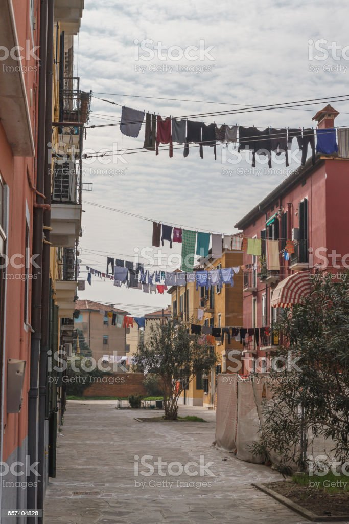 Clotheslines hanging in Venice, Italy stock photo