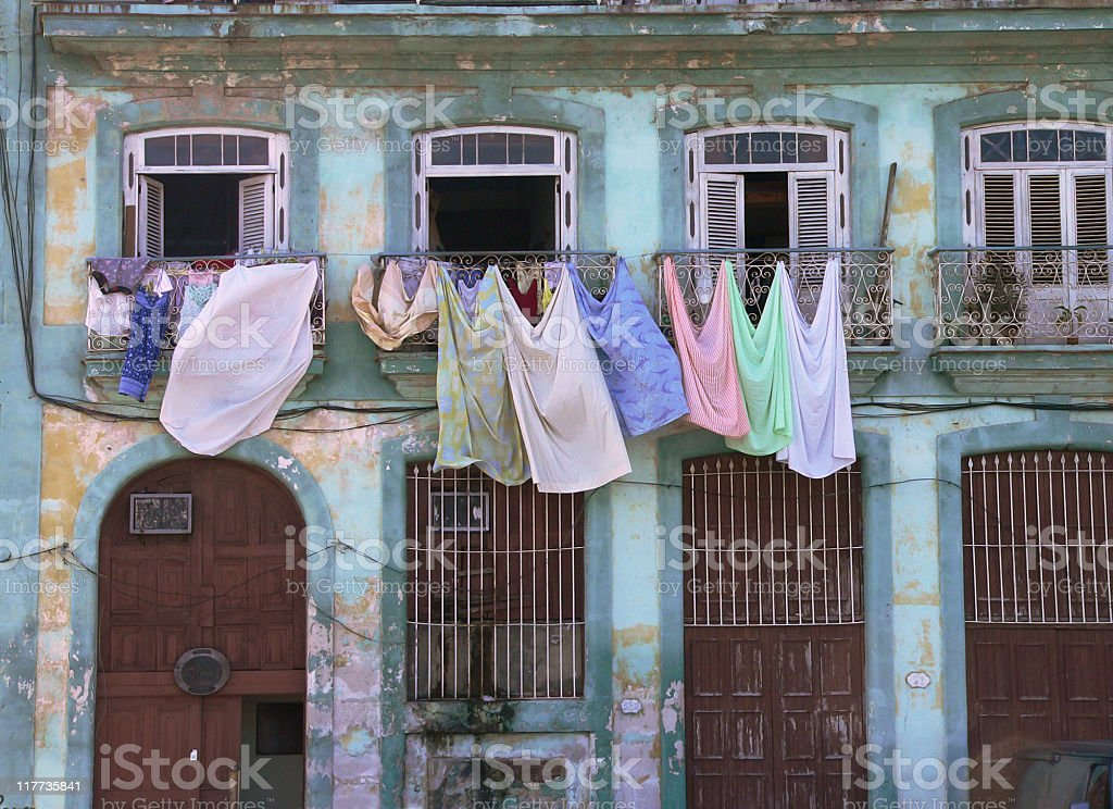 Clotheslines on colorful house in Old Havana, Cuba royalty-free stock photo