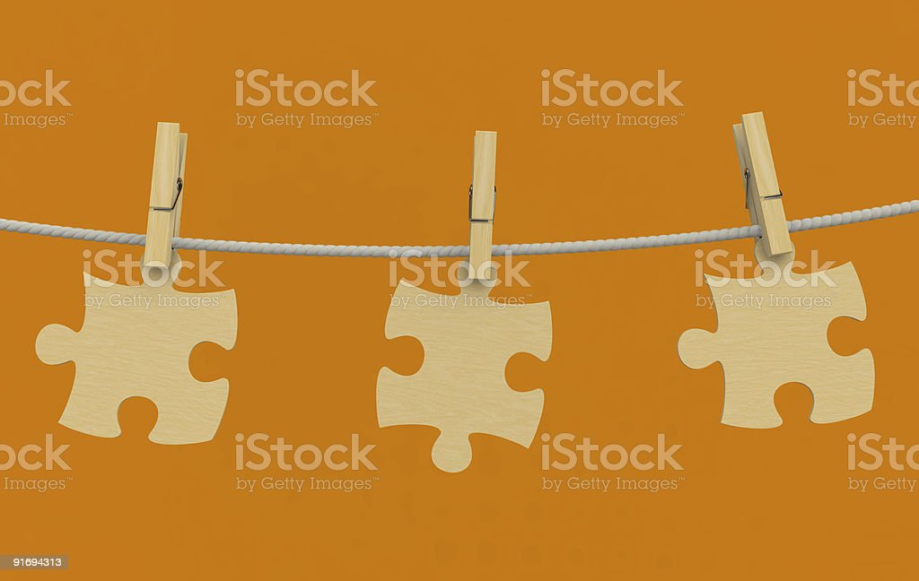clothes-peg puzzle rope wooden royalty-free stock photo