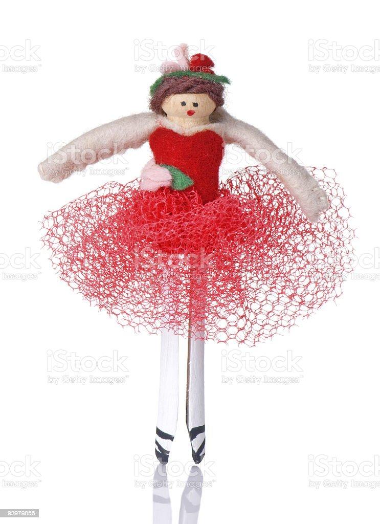 Clothespin Ballerina Christmas Ornament royalty-free stock photo