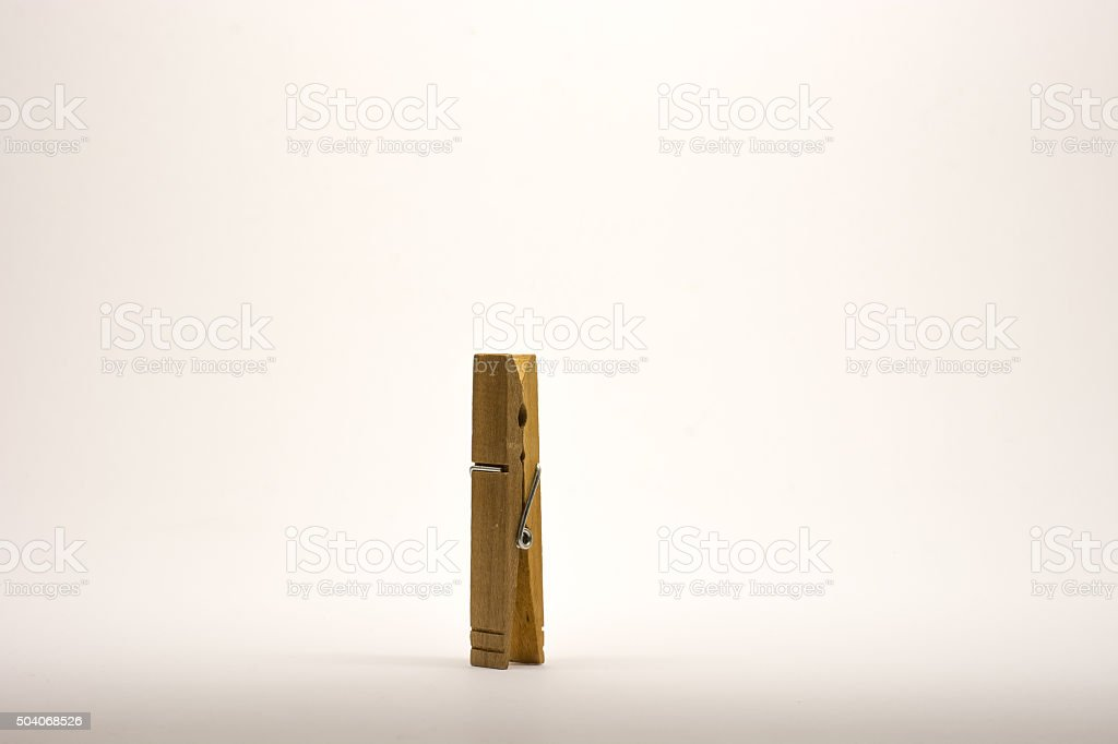 Clothespin isolated isolated no white. Close up. stock photo