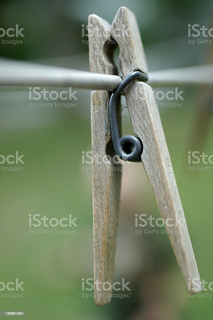 Clothespin On Line stock photo