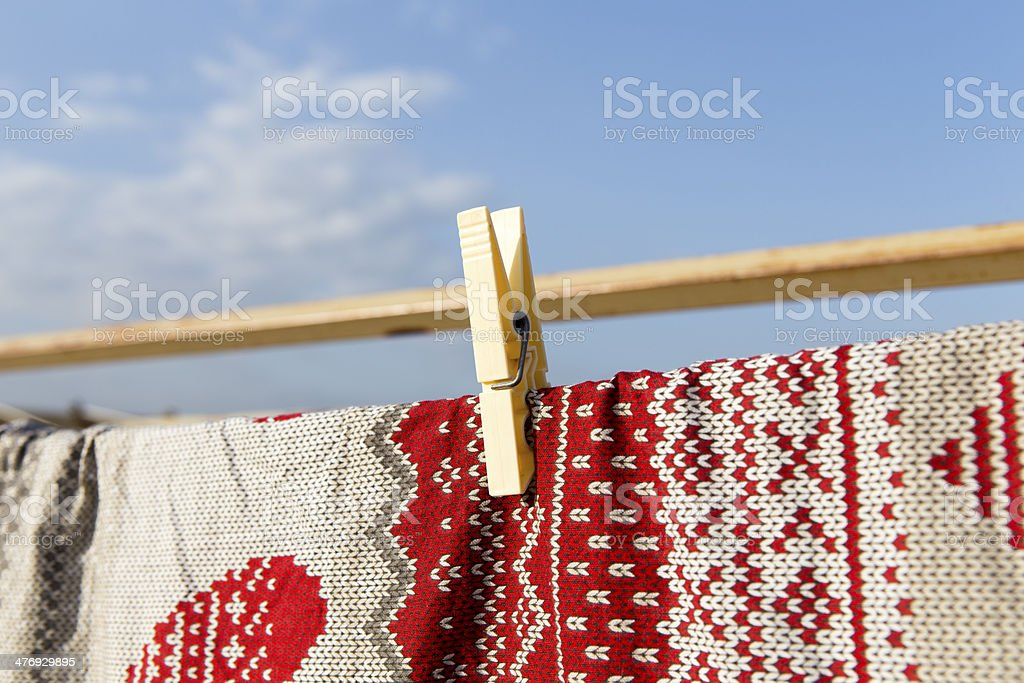 Clothespins and blanket royalty-free stock photo