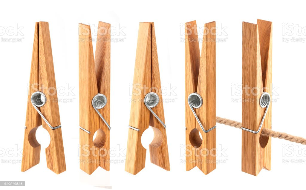 Clothespins isolated on white background stock photo