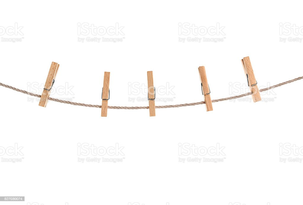 clothespins on rope stock photo
