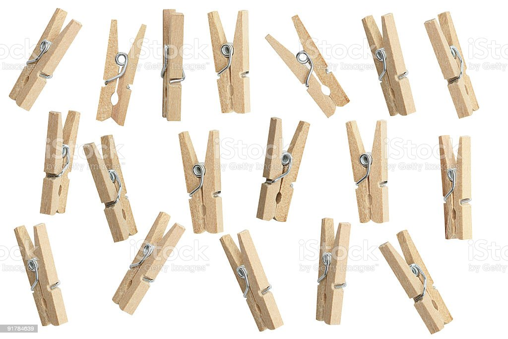 Clothespins to clip stock photo