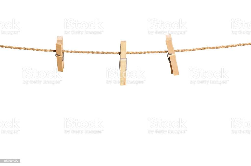 Clothesspin on clothesline stock photo