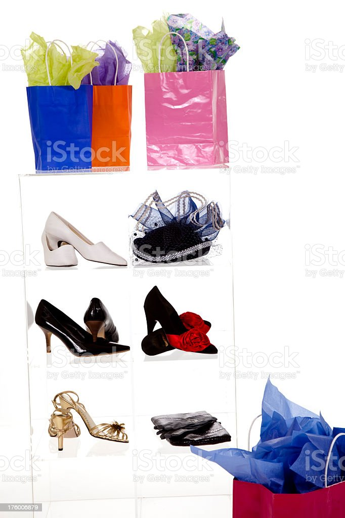 Clothing and accessories store interior with giftbags on display case royalty-free stock photo