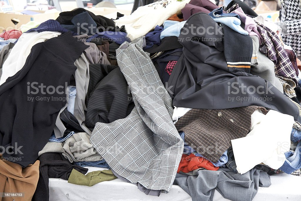 Clothing at market sale stock photo