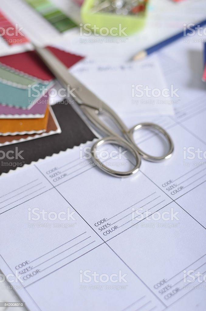 Clothing design tools stock photo