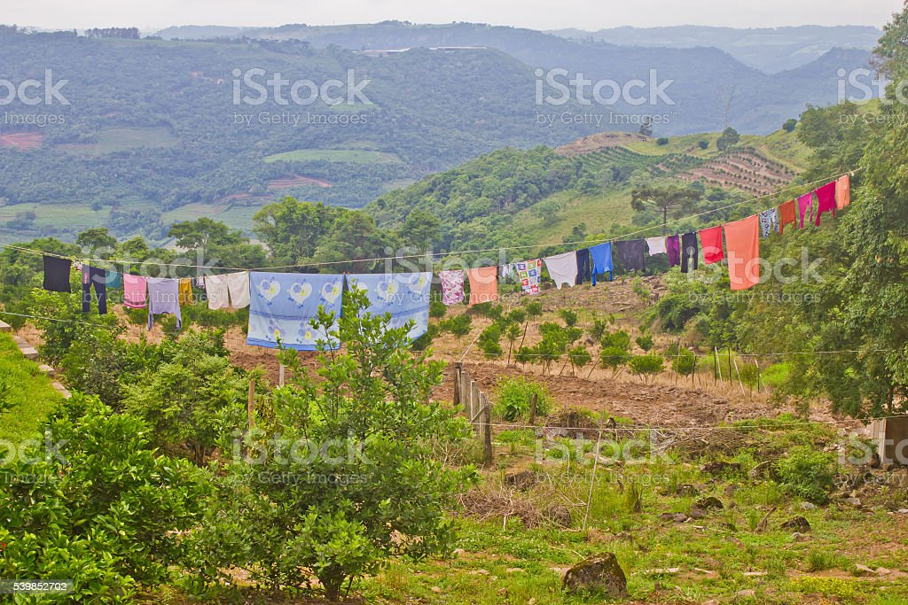 Clothing drying in a Rural house in Veranopolis stock photo