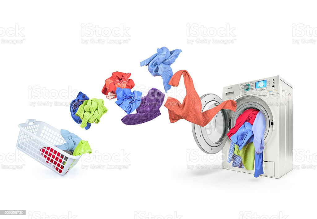 clothing falls into the washing machine stock photo